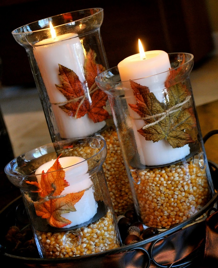 christmas table centerpiece with candle
