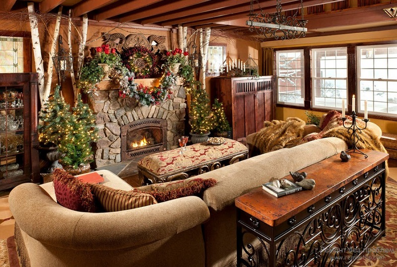 Stunning rustic christmas decorations christmas for Rustic living room design ideas