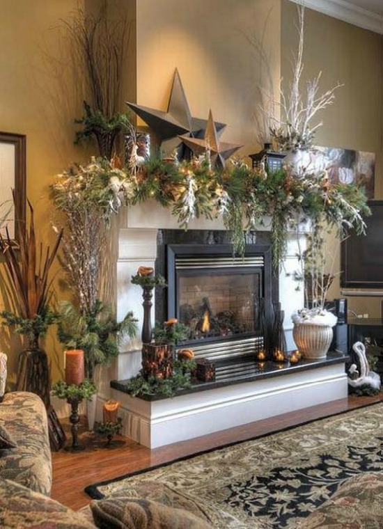 rustic christmas mantel - Beautiful Mantel Christmas Decorations