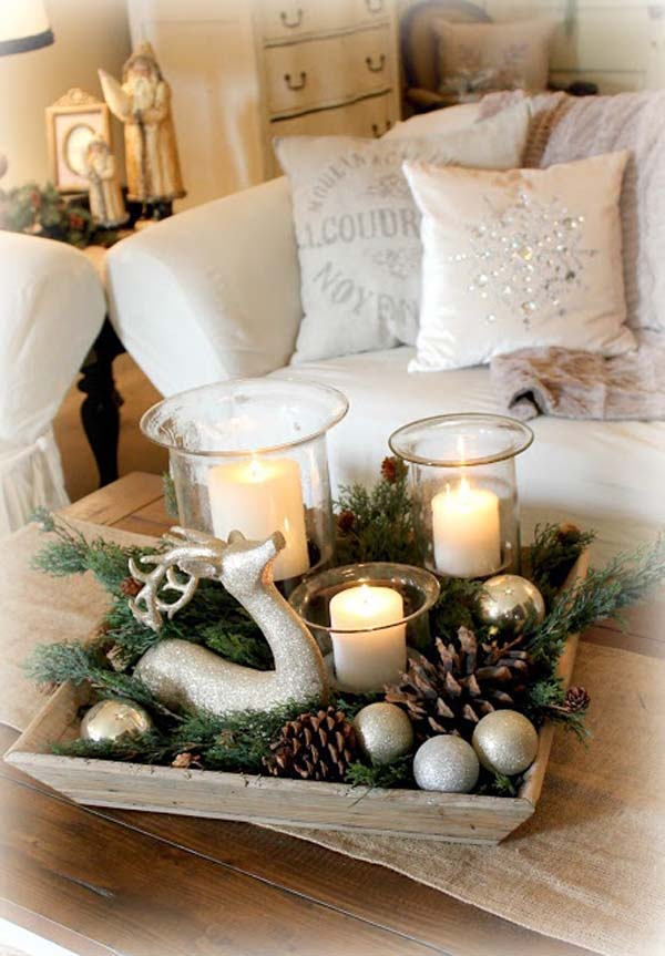 rustic christmas decorations with candles - Rustic Christmas Table Decorations