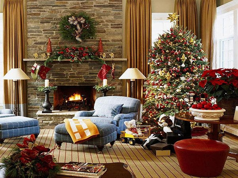 Rustic christmas decorations christmas celebration all - Christmas living room decor ...