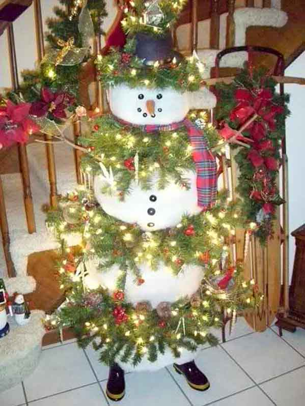 snowman christmas tree - Snowman Christmas Tree Decorations