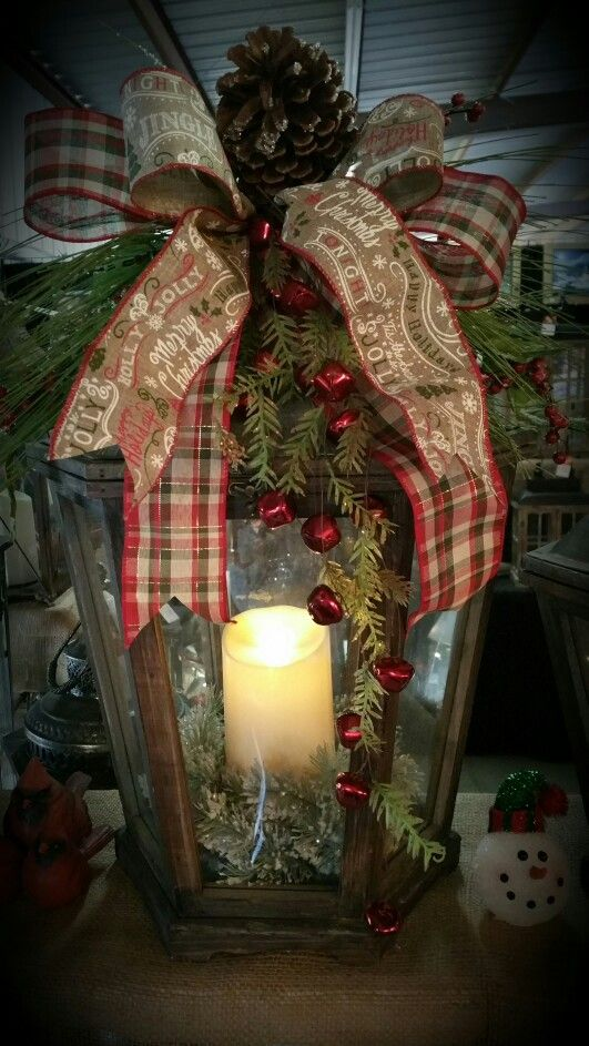 decorated christmas lantern - How To Decorate A Lantern For Christmas