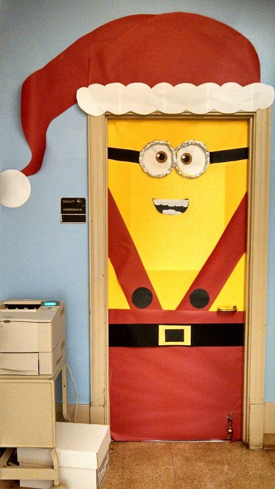 minion santa christmas door decoration ideas