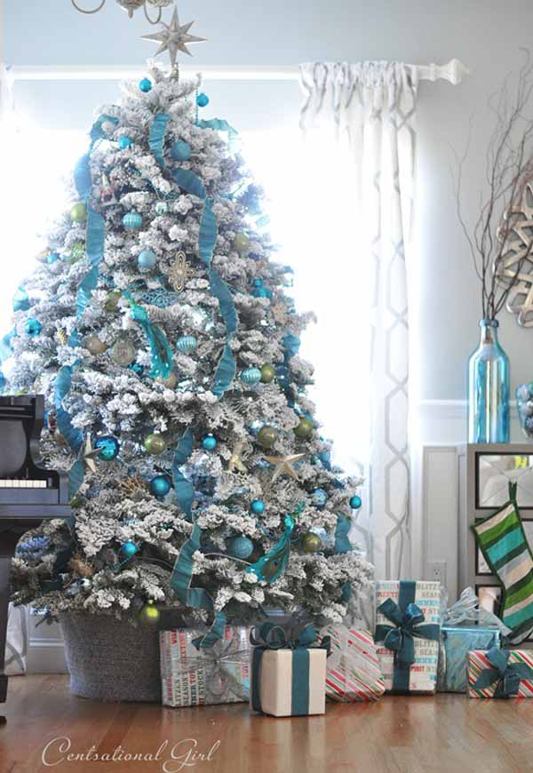 blue christmas tree decor