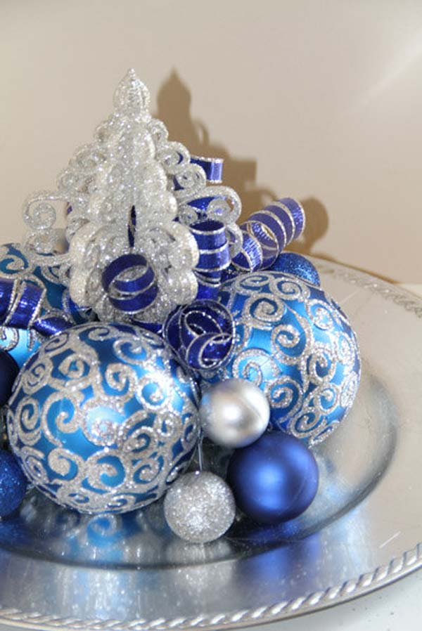 blue christmas ornaments ideas - Blue And Silver Christmas Decorating Ideas
