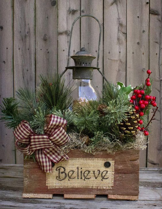 make your own christmas lantern out of old lamps lying around your basement put them inside a wooden box adorn it with pinecones ribbons and other - Ideas For Decorating For Christmas Inside
