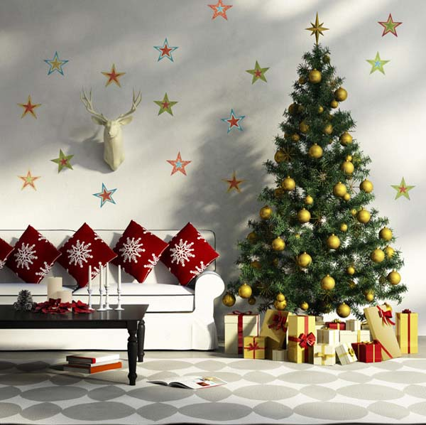Attirant Christmas Stars Wall Decoration