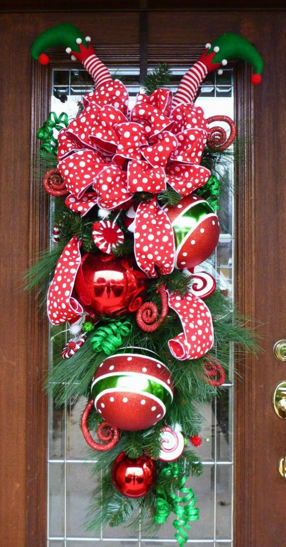 colorful christmas front door decoration