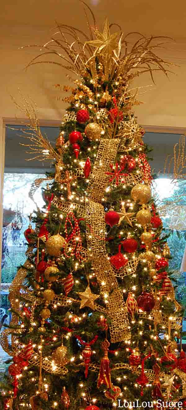 Christmas tree decorations gold - Gold Christmas Tree Decorating Ideas