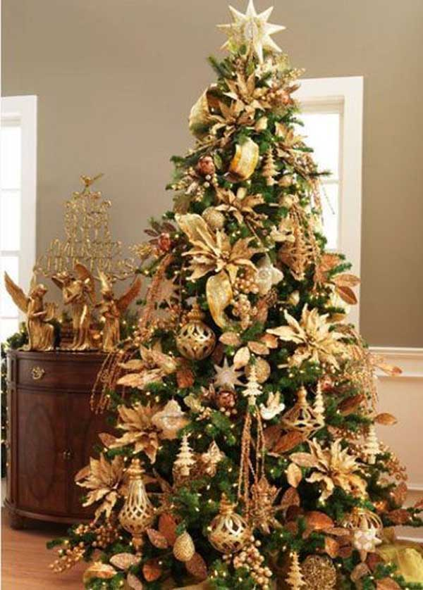Gold christmas decoration ideas christmas celebration Christmas tree ornaments ideas