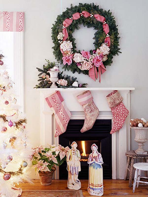 pink christmas decoration ideas wreath and socks
