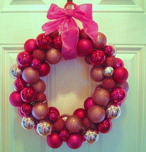 pink-handmade-christmas-balls-wreath