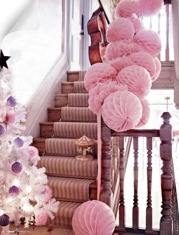 Attrayant Pink Theme Christmas Decoration Idea