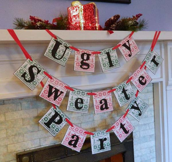 ugly christmas sweater party decoration idea