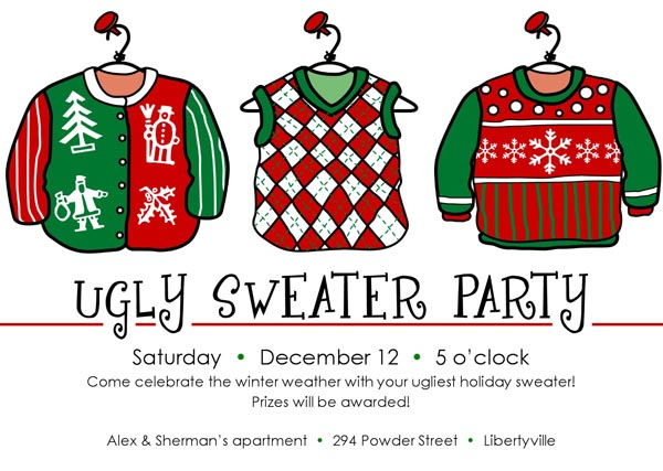 ugly christmas sweater party ideas - christmas celebrations, Party invitations