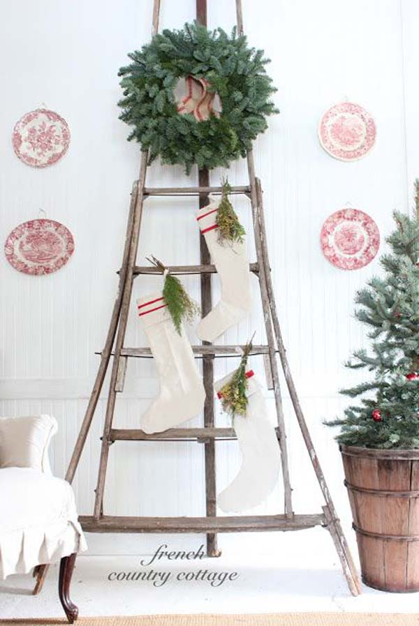 vintage christmas ladder decoration