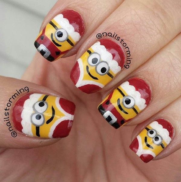 Image source: cosmeticsaficionado.com · christmas-nail-minion-design - 50 Amazing And Easy Christmas Nail Designs And Nail Arts - Christmas