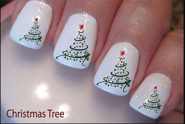 christmas-tree-nail-design - 50 Amazing And Easy Christmas Nail Designs And Nail Arts - Christmas