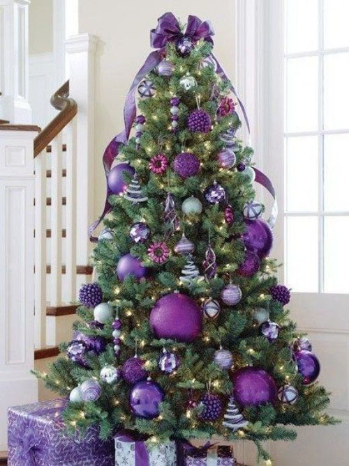Purple Decorations for Green Christmas Tree