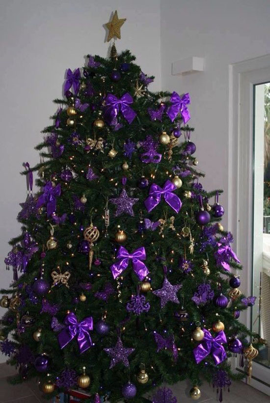 ribbons can also be used in decorating your christmas tree hang those purple bow tie ribbons adorn it with purple stars and some gold baubles and you have