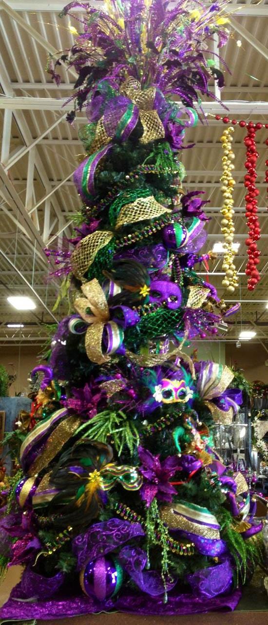Mardi Gras Themed Christmas Tree - Top Purple Christmas Trees Decorations - Christmas Celebration - All