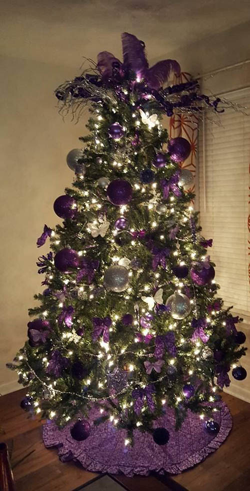 white silver and purple christmas tree decorations