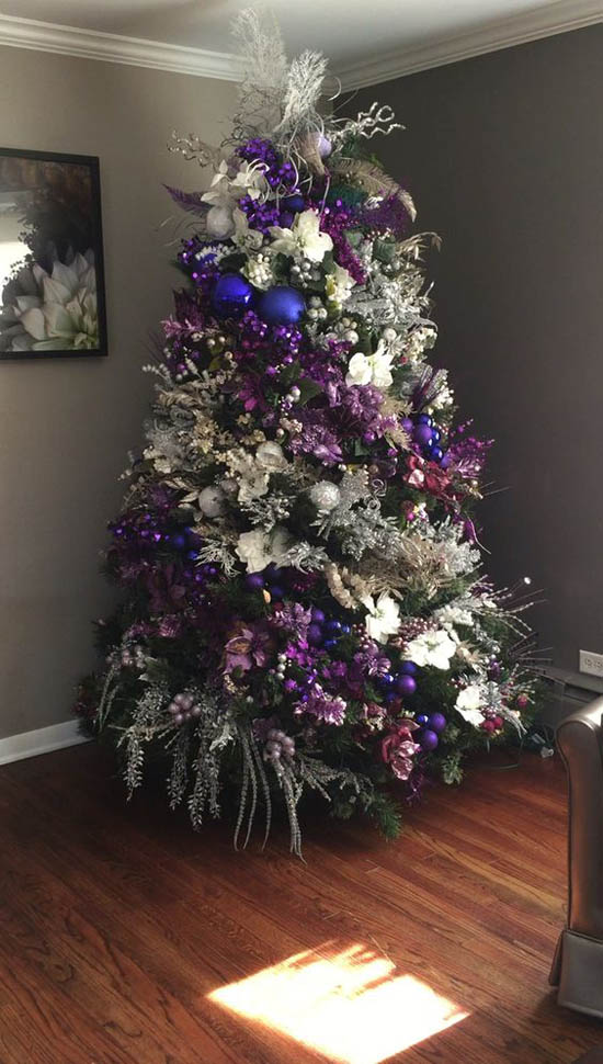 white blue and purple decorate your christmas tree