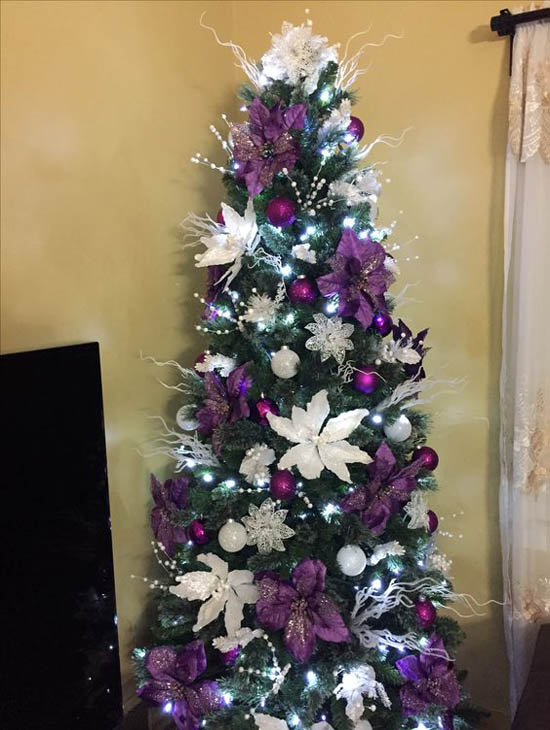 for a festive and vibrant christmas tree decorating scheme how about this purple and white combo these striking purple and white poinsettia - Poinsettia Christmas Tree Decorations