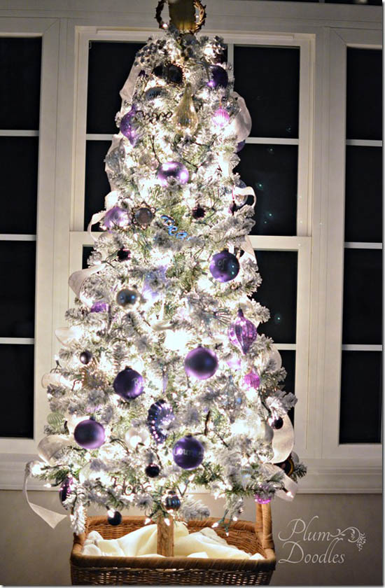 silver and purple christmas tree decoration ideas