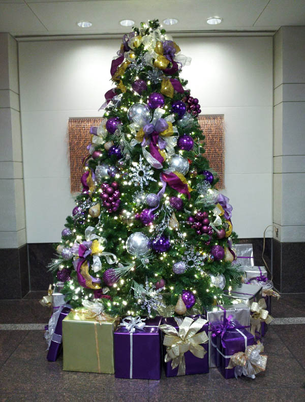 gold silver and purple a beautiful luxurious christmas tree decorated - Purple And Silver Christmas Decorations