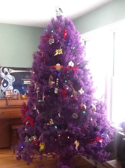 purple christmas tree with colorful decor source - Purple Christmas Tree