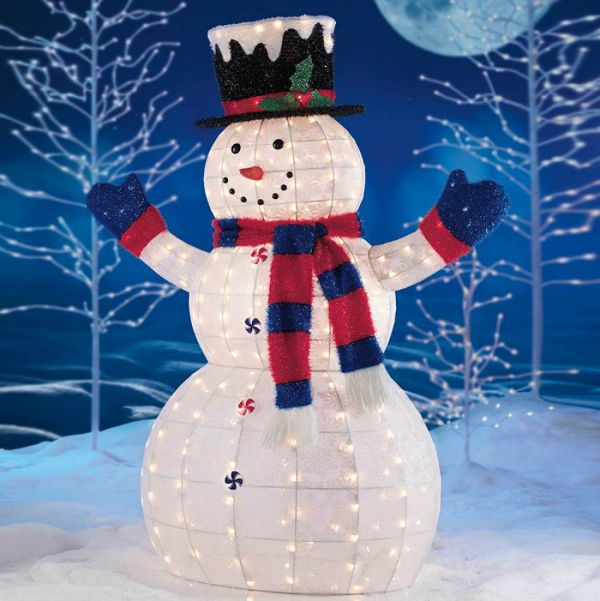 Snowman With Lights Christmas Decorations