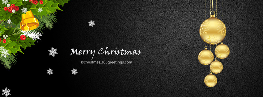 Keep it simple with this black fb cover photo, with just a few hanging christmas baubles and border.