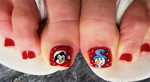 No particular skills required here and you can simply buy a few Christmas  themed nail art stickers and get these cute looking toe nails. - 30 Best And Easy Christmas Toe Nail Designs - Christmas Celebrations