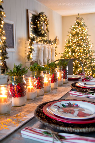 light up your dinner table with these beautiful and magical mason jar luminaries filled with epsom salt and cranberries line them up alternating with - Christmas Dinner Decorations