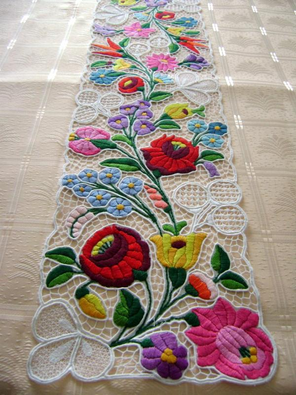 Cutwork Table Runner With Hungarian Embroidery