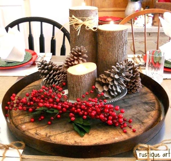 if youre aiming for a more natural and rustic style of christmas decoration this centerpiece can be your go to choice if you have an old wooden tray