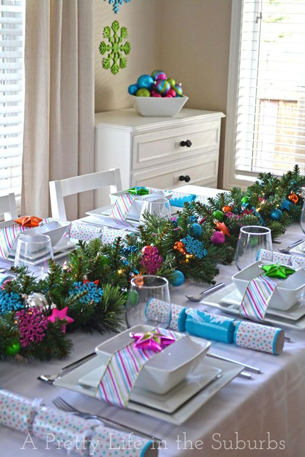 Make use of those extra Christmas balls and snowflake ornaments as table decoration. Set up a green table runner with pine needles. & Christmas Table Decorations 2018 - Christmas Celebration - All about ...