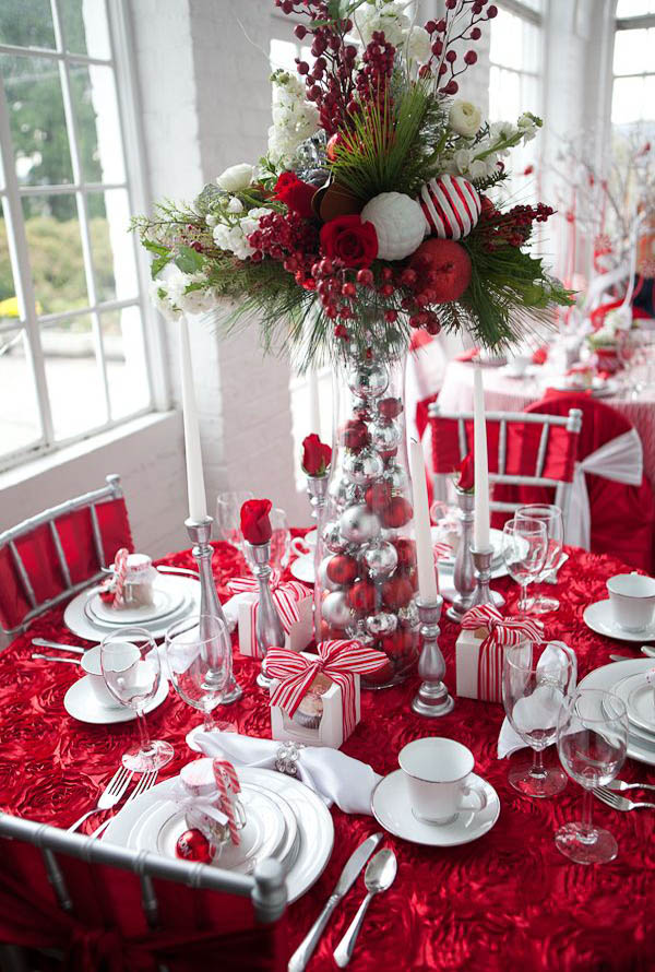 christmas table decorations pinterest 08 - Silver Christmas Table Decorations