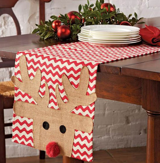Ah This Burlap Table Runner With Cute Little Rudolf Is Literally Screaming Christmas Try For A Rustic And Cheerful Dinner Party