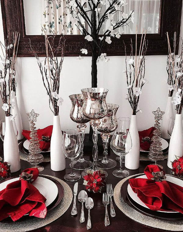 this is the epitome of modern christmas decorations sparkly table wares peculiarly held napkins and out of this world table toppers on the side - Silver Christmas Table Decorations