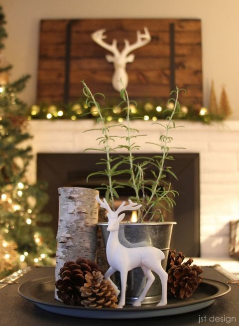 christmas table white christmas table - White Deer Christmas Decoration