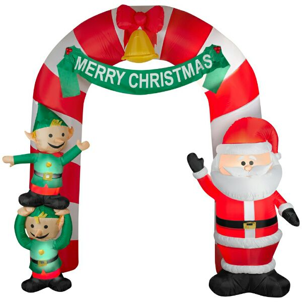 santa and elves entrance inflatable