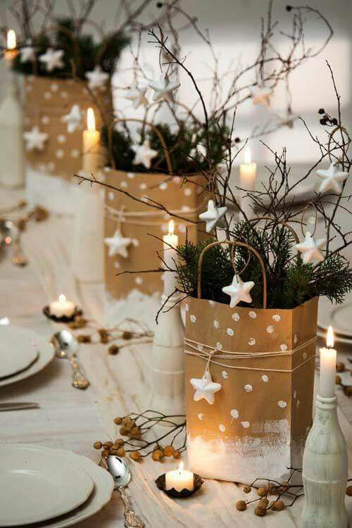 White And Gold Christmas Table Decorations