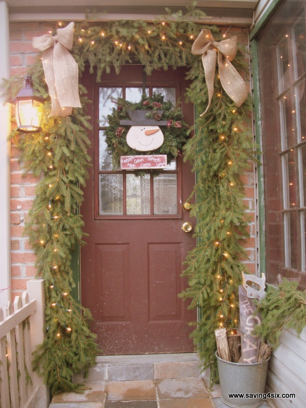 Burlap Porch Decoration: Source - Top 16 Burlap Christmas Decoration Ideas - Christmas Celebration