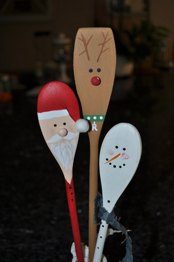 wooden christmas kitchen spoons - Wooden Christmas Decorations To Make