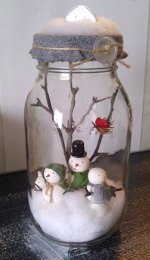 christmas-snow-man -mason-jar