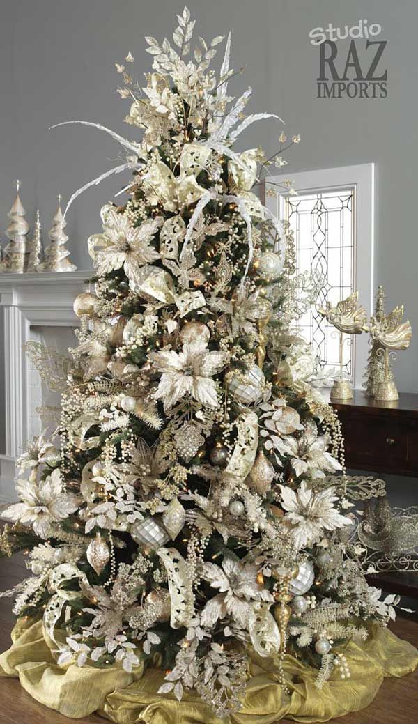 Beautiful christmas tree decorations ideas christmas for White and gold tree decorations