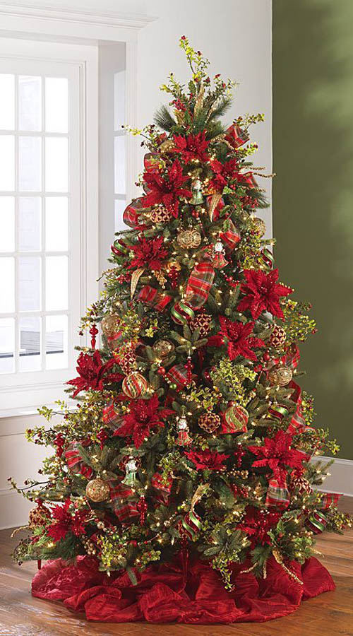 2014 december dreams tree 1 by raz imports - Poinsettia Christmas Tree Decorations